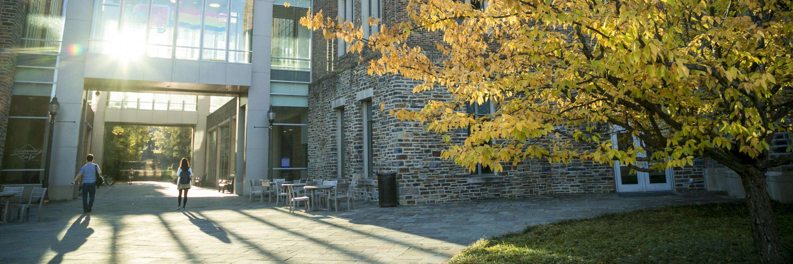 exterior of Fitzpatrick Center with fall trees