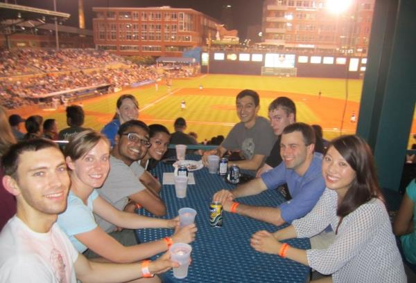 MEng students take a break to enjoy a home game for the Durham Bulls.
