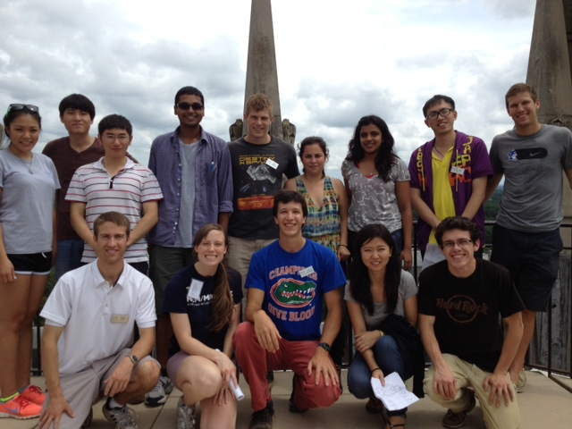 MEng students climb to the top of Duke Chapel during Orientation 2013-2014.